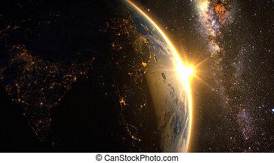 terra, em, espaço