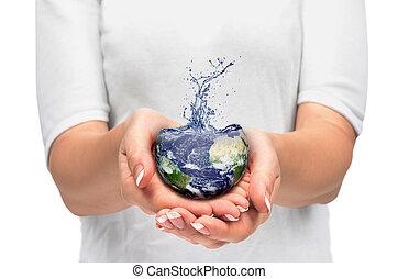 terra, em, mão humana