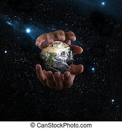 terra, em, mãos