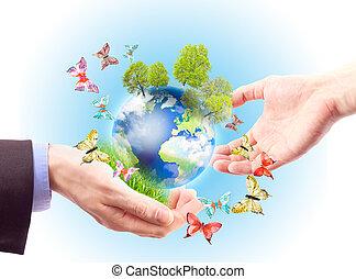 terra, em, mãos humanas