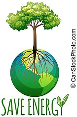 terra, energia, risparmiare, albero, tema