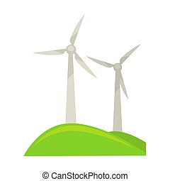 terra, energia, verde, geradores, pedaço, vento