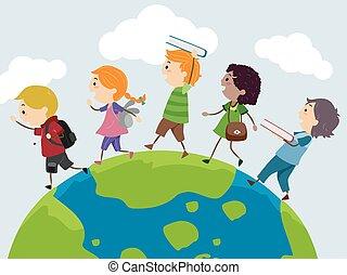 terra, esplorare, libri, stickman, bambini