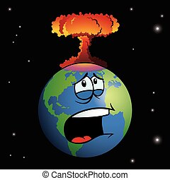 terra, explodindo, arma nuclear, caricatura