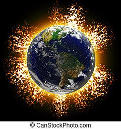 terra, explodindo
