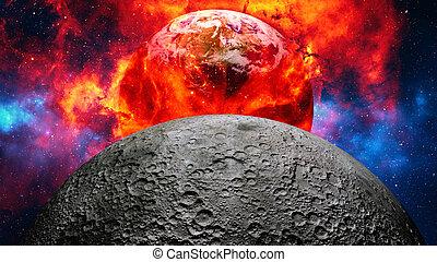 terra, exploding., ou, queimadura