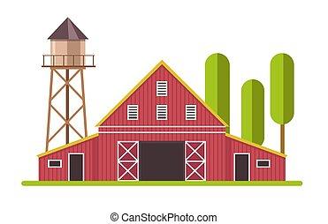 terra fazenda, branco vermelho, torre, celeiro, água