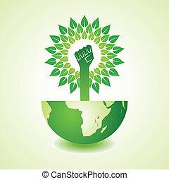 terra, fazer, árvore, unidade, mão