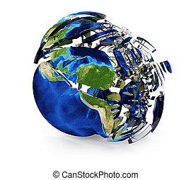 terra, fesso, globo