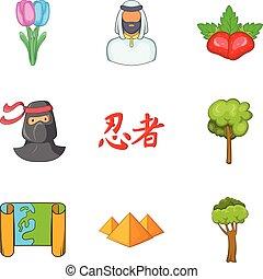 Terra firma icons set, cartoon style - Terra firma icons...