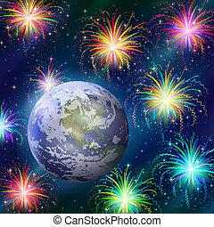 terra, fogos artifício, espaço