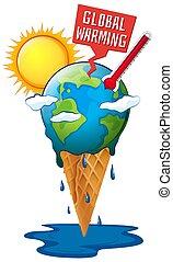 terra, global, sol, warming, quentes