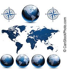 terra, globi, con, mappa mondo