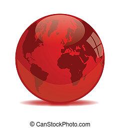 terra, globo, rosso
