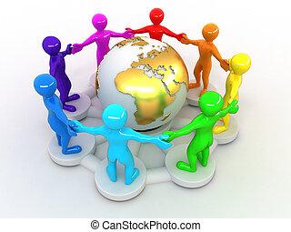 terra, grupo, ao redor, pessoas