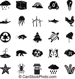 Terra icons set, simple style - Terra icons set. Simple set...