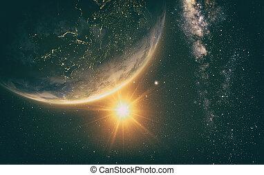 terra, in, spazio