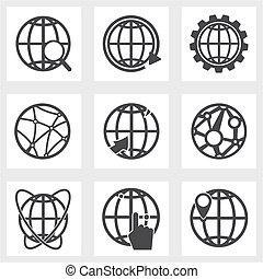 terra, jogo, ícones