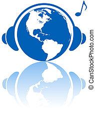 terra, música, mundo, fones, ligado, hemisfério ocidental, planeta