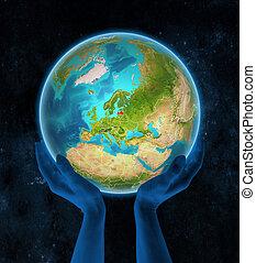terra, mani, lettonia, spazio