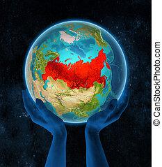 terra, mani, russia, spazio