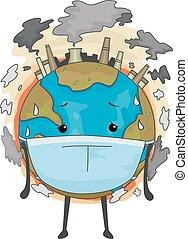 terra, mascotte, maschera inquinamento, aria