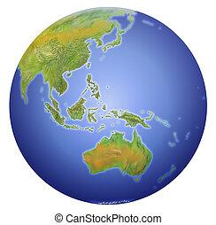 terra, mostrando, austrália, nova zelândia, ásia, e, sul,...