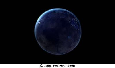 terra, noturna, globo, ligado, a, canal alfa