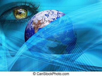 terra, olho, em, espaço