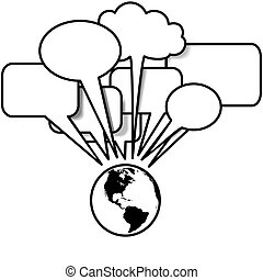 terra, ovest, discorsi, blogs, tweets, in, bolla discorso,...