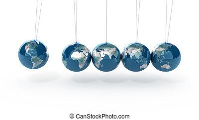 terra, pêndulo, isolado, branco
