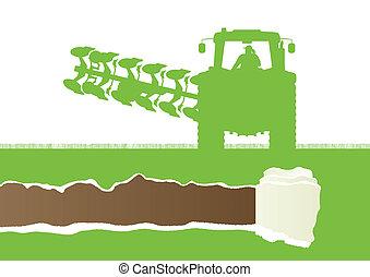 terra, país, grão, cultivado, agricultura, arar, trator