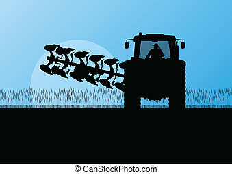 terra, país, ilustração, campo, vetorial, grão, trator, fundo, cultivado, agricultura, arar, paisagem