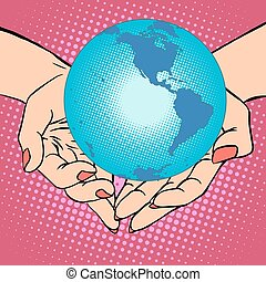 terra pianeta, america, mani