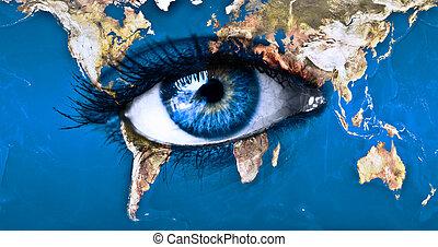 terra pianeta, blu, occhio