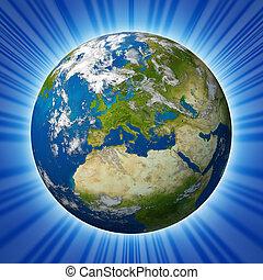 terra pianeta, caratterizzare, europa, ardendo