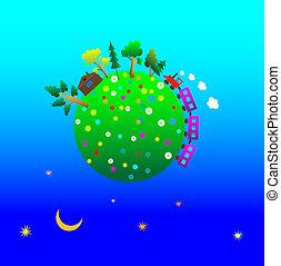 terra pianeta, cartone animato