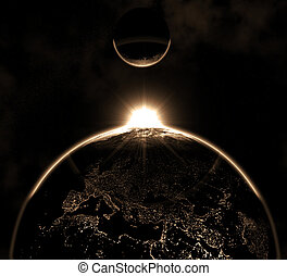 terra pianeta, con, luna, hi-res