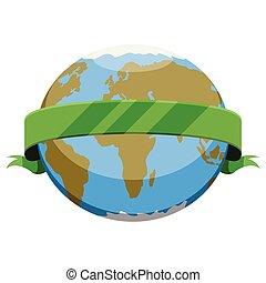 Terra pianeta nastro. intorno globo illustrazione pianeta