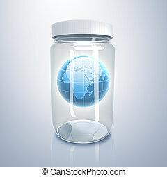 terra pianeta, dentro, vaso, vetro