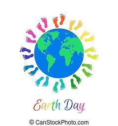 terra pianeta, gambe, intorno, bambini
