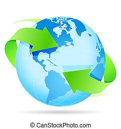 terra pianeta, icona freccia