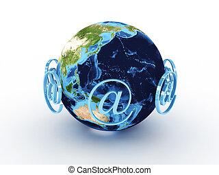 terra pianeta, intorno, segno