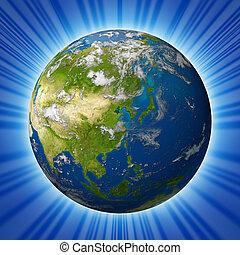 terra pianeta, modello, continente, caratterizzare, asia