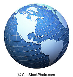 terra pianeta, modello, isolato, -, americas, bianco
