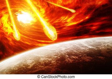 terra pianeta, nebulosa, rosso, spazio