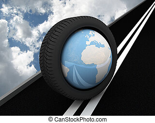 terra pianeta, protettore, asphalt., 3d