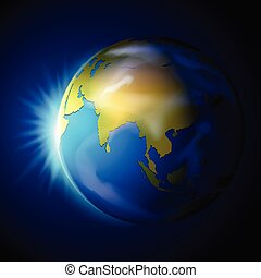 terra pianeta, sfondo blu