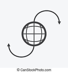 terra pianeta, simbolo, vettore, icona