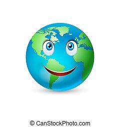 terra pianeta, sorridente